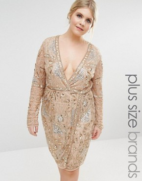 photo Premium Wrap Embellished Wrap Dress by Missguided Plus, color Gold - Image 1