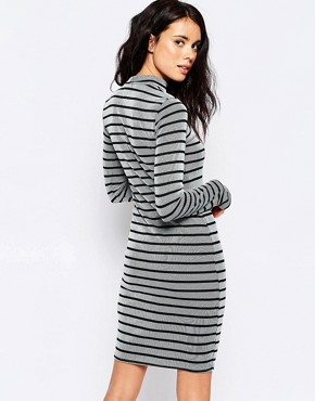 photo High Neck Striped Bodycon Dress by Ichi, color Black - Image 2
