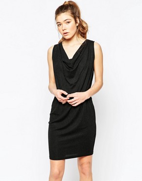 photo Sleeveless Ruched Neck Shift Dress with Cut Out Back by Ichi, color Black - Image 2
