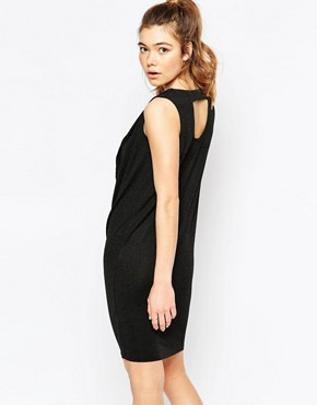 photo Sleeveless Ruched Neck Shift Dress with Cut Out Back by Ichi, color Black - Image 1