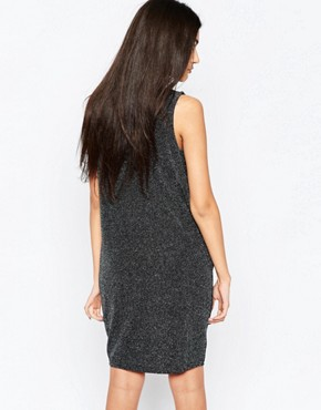 photo Sleeveless Ruched Neck Shift Dress with Cut Out Back by Ichi, color Silver - Image 2