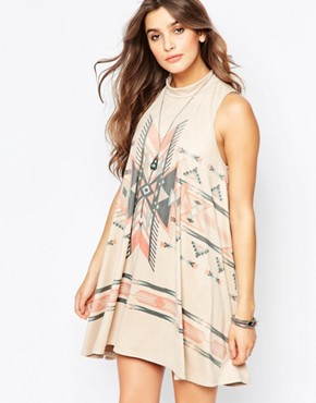 photo Suedette Printed Tunic Dress by Vintage Havana, color Tan - Image 1