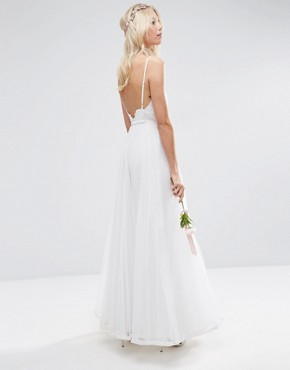 photo Embroidered Cami Mesh Maxi Dress by ASOS BRIDAL, color White - Image 2
