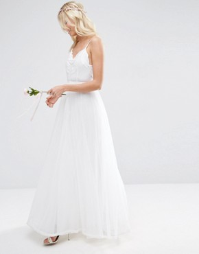 photo Embroidered Cami Mesh Maxi Dress by ASOS BRIDAL, color White - Image 1