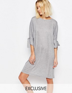 photo Shift Dress with Tie Sleeve by House of Sunny, color Grey - Image 1