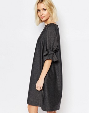 photo Shift Dress with Tie Sleeve by House of Sunny, color Charcoal Grey - Image 2