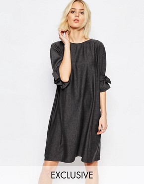 photo Shift Dress with Tie Sleeve by House of Sunny, color Charcoal Grey - Image 1