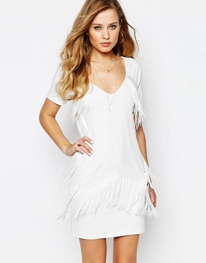 photo Duoma Fringed Mini Dress by Supertrash, color White - Image 1