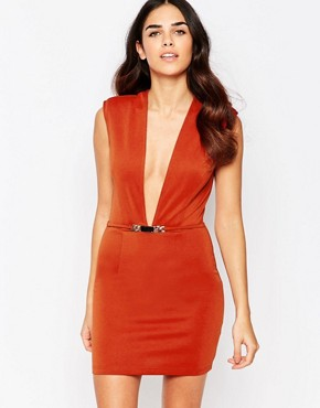 photo Bodycon Dress with Deep Plunge by Rare, color Rust - Image 1