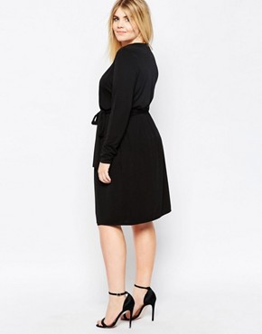 photo Wrap Front Dress by Carmakoma, color Black - Image 2