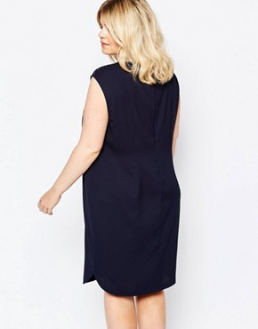 photo Premium Lace Insert Pencil Dress by Carmakoma, color Navy - Image 2