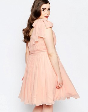 photo One Shoulder Pleated Prom Dress by Forever Unique Plus, color Pink - Image 2