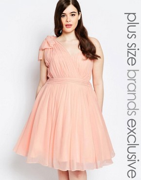 photo One Shoulder Pleated Prom Dress by Forever Unique Plus, color Pink - Image 1