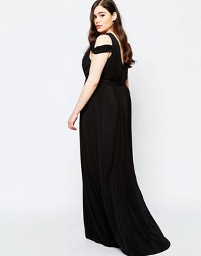 photo Off Shoulder Plunge Maxi Dress by Forever Unique Plus, color Black - Image 2
