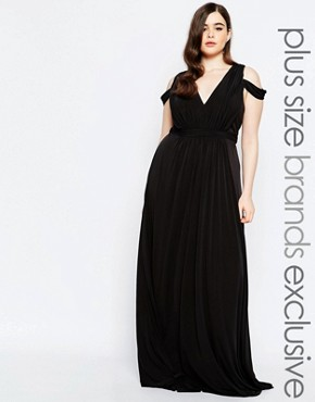 photo Off Shoulder Plunge Maxi Dress by Forever Unique Plus, color Black - Image 1