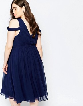 photo Off Shoulder Plunge Midi Dress by Forever Unique Plus, color Navy - Image 2