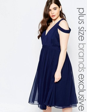 photo Off Shoulder Plunge Midi Dress by Forever Unique Plus, color Navy - Image 1