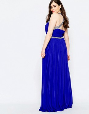 photo Embellished Maxi Dress with Keyhole Detail by Forever Unique Plus, color Blue - Image 2