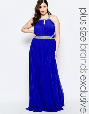 photo Embellished Maxi Dress with Keyhole Detail by Forever Unique Plus, color Blue - Image 1