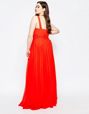 photo Panelled Chiffon Maxi Dress by Forever Unique Plus, color Orange - Image 2