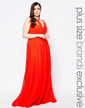 photo Panelled Chiffon Maxi Dress by Forever Unique Plus, color Orange - Image 1