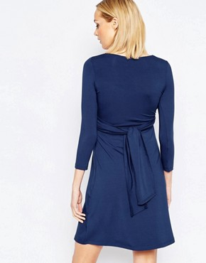 photo Wrap Front Nursing Dress with Tie Waist by Isabella Oliver, color Navy - Image 2