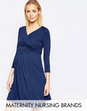 photo Wrap Front Nursing Dress with Tie Waist by Isabella Oliver, color Navy - Image 1