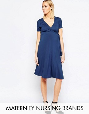 photo Nursing Short Sleeve Wrap Dress with Tie Waist by Isabella Oliver, color Navy - Image 1