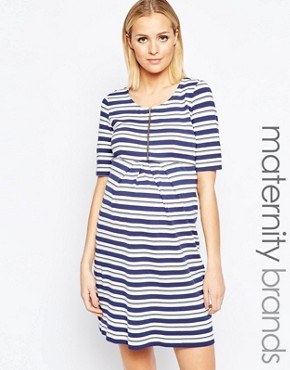 photo Striped Dress with Zip Detail by Isabella Oliver, color Multi - Image 1