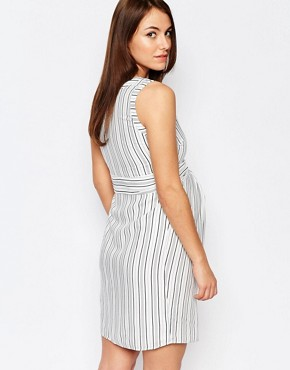 photo Stripe Dress with Tie Waist by Isabella Oliver, color Multi - Image 2