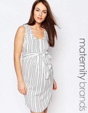 photo Stripe Dress with Tie Waist by Isabella Oliver, color Multi - Image 1