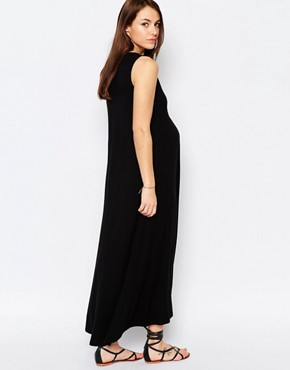 photo Sleeveless Trapeze Maxi Dress by Isabella Oliver, color Black - Image 2