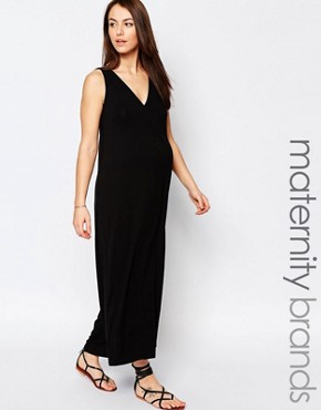 photo Sleeveless Trapeze Maxi Dress by Isabella Oliver, color Black - Image 1