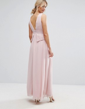 photo Chiffon Maxi Dress with Pleats and Embellished Shoulders by Little Mistress, color Pink - Image 2