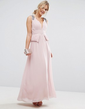 photo Chiffon Maxi Dress with Pleats and Embellished Shoulders by Little Mistress, color Pink - Image 1