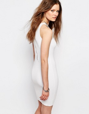 photo Knitted Halter Dress with Zip Detail by Noisy May Petite, color White - Image 2