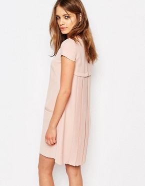 photo Pleat Back Shift Dress by BOSS Orange, color Bright Pink - Image 1