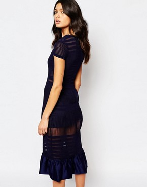 photo Modern Fables Mesh Insert Midi Dress with Peplum Hem by Foxiedox, color Navy - Image 2