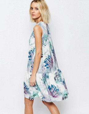 photo Feather Thistle Print Drop Waist Eliza Dress by Every Cloud, color Multi - Image 2