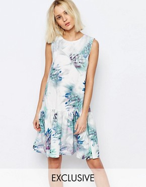 photo Feather Thistle Print Drop Waist Eliza Dress by Every Cloud, color Multi - Image 1