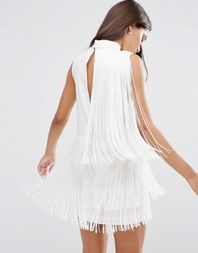 photo Fringe Drapey 20s Mini Shift Dress by ASOS PREMIUM, color White - Image 2