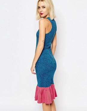 photo Jacquard Pufferfish Frill Dress by House of Holland, color Blue - Image 2