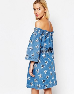 photo Embroidered Denim Rouched Dress by House of Holland, color Blue Multi - Image 2