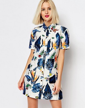photo Printed Shirt Dress by House of Holland, color Cream Multi - Image 1