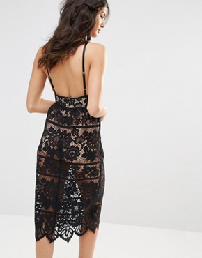 photo Gianna Midi Dress in Black Lace by For Love and Lemons, color Black - Image 2