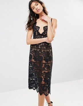 photo Gianna Midi Dress in Black Lace by For Love and Lemons, color Black - Image 1