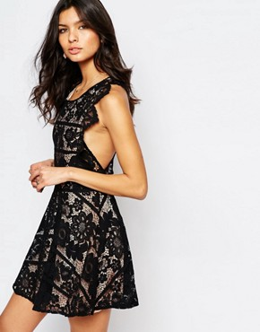 photo Gianna Backless Mini Dress in Black Lace by For Love and Lemons, color Black - Image 2