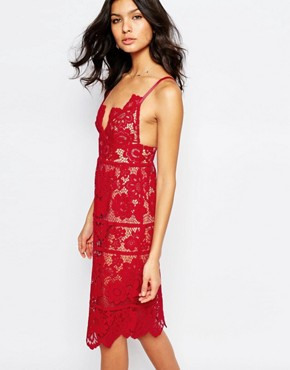 photo Gianna Midi Dress in Red Lace by For Love and Lemons, color Hot Red - Image 1