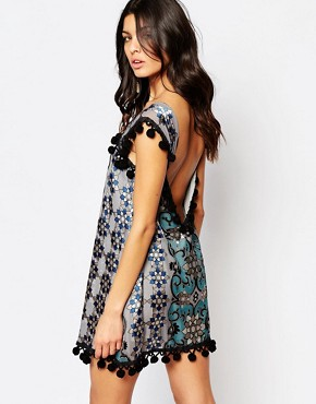 photo Juliet Mini Dress with Pom Pom Detail by For Love and Lemons, color Jade - Image 2