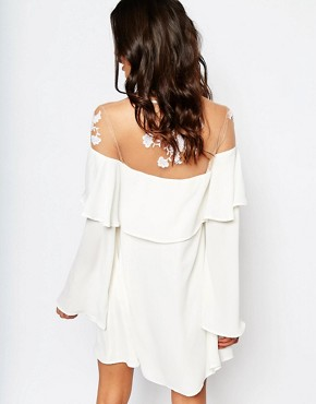 photo Elenora Mini Dress with Embroidery by For Love and Lemons, color White - Image 2